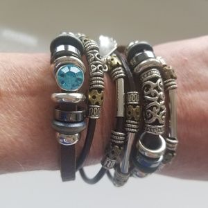 Two boho leather and bead bracelets with clasps